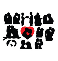 love kiss silhouettes vector image