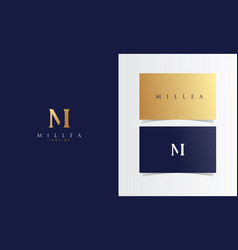 m minimalist gold logotype with business card vector image