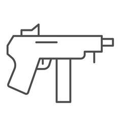 machine gun thin line icon automatic bomb vector image