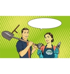Man and woman with garden tools vector