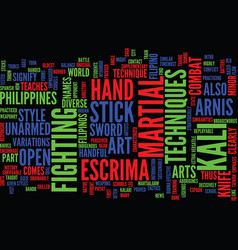 Martialarm intro to arnis text background vector