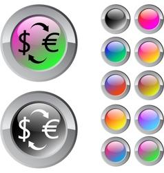Money exchange multicolor round button vector image