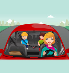 Mother driving with her children vector