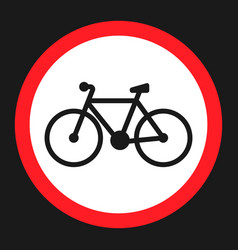 No bicycle bike prohibited sign flat icon vector