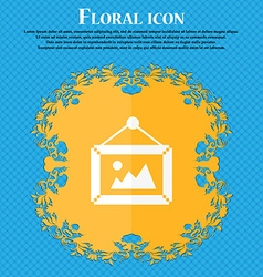 Picture icon floral flat design on a blue abstract vector