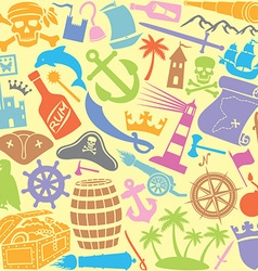 pirates icons seamless pattern vector image