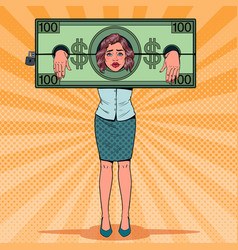 pop art stressed woman prisoner of money vector image