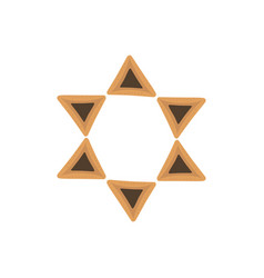 Purim holiday flat design icons of hamantashs in vector
