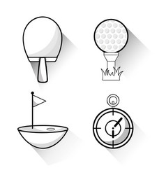 Racket golf ball and chronometer to play game vector