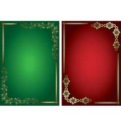 red and green cards with golden frames vector image
