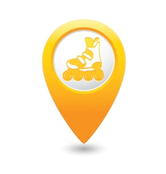 Rollerskates map pointer yellow vector