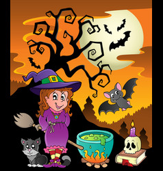 Scene with halloween theme 8 vector