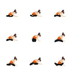 Seated side lean and twist yoga asanas set vector