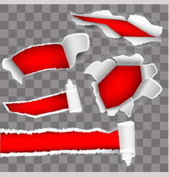 set for white paper torn hole red inside vector image