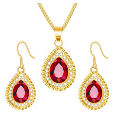 Set gold jewelry pendant on a chain and vector