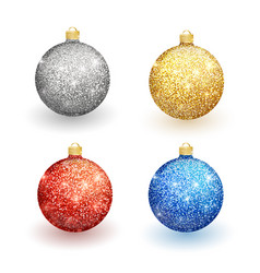 set of christmas balls on a white background vector image