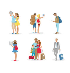 set tourist people with luggages vector image