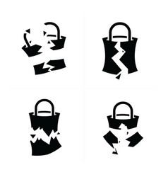 shopping bags set break style vector image