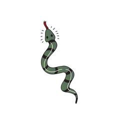 Snake tattoo on white background flat vector
