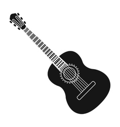 Spanish acoustic guitar icon in black style vector