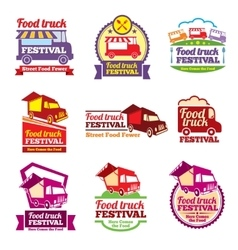 Street food festival color labels set vector image