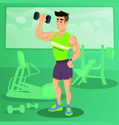 strong man working out with dumbbells in fitness vector image