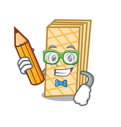 Student waffle character cartoon style vector