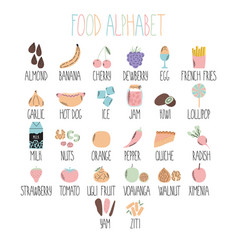 stylish food alphabet from a to z alphabet made vector image