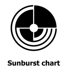 Sunburst chart icon simple style vector