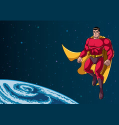Superhero flying in space vector