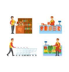 Supermarket sommelier and butchers set vector