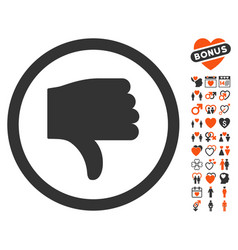 thumb down icon with valentine bonus vector image