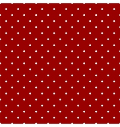 Tile pattern white polka dots dark red background vector image