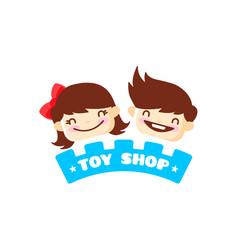 toy store logo cute kids shop symbol vector image