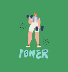training with dumbbells hand drawn vector image