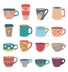 Trendy cups coffee and tea mugs in scandinavian vector