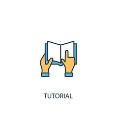 tutorial concept 2 colored line icon simple vector image