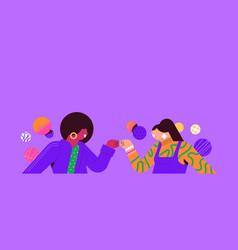 Two woman friends cartoon fist bump hand gesture vector