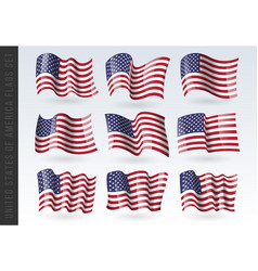 Usa wavy flags set united states patriotic vector