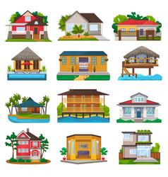 villa facade of house building and tropical vector image