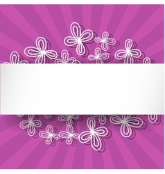 Violet rays background with abstract white flowers vector