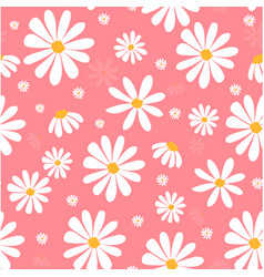 White daisy flowers on pink pastel pattern seamles vector