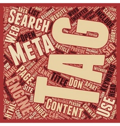 Why Meta Tags used text background wordcloud vector image