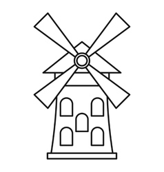 Windmill icon outline style vector