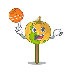 With basketball candy apple character cartoon vector