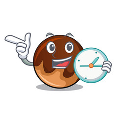 with clock chocolate donut character cartoon vector image