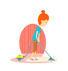 Woman is cleaning the floor with a vacuum cleaner vector