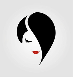 Woman with red lipstick and emo hairstyle vector image