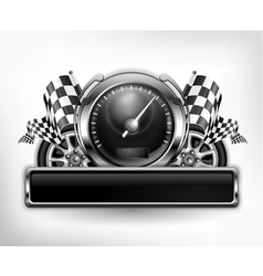 emblem speedometer races checkered flag vector image vector image