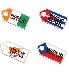 label Made in Cote dIvoire Cuba Cyprus Czech Repub vector image vector image